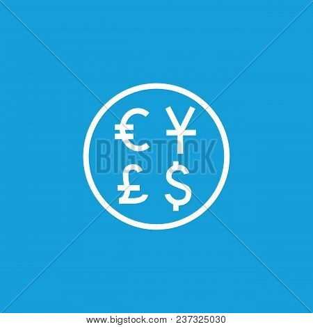 Line Icon Of Circle With Euro, Dollar, Yen, Pound Sterling Sign. Exchange Office, Bank, Forex Rate.