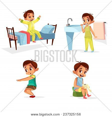 Vector Cartoon Boy Daily Routine, Morning Activity Set. Male Character Wake Up, Stretch, Brushing Te