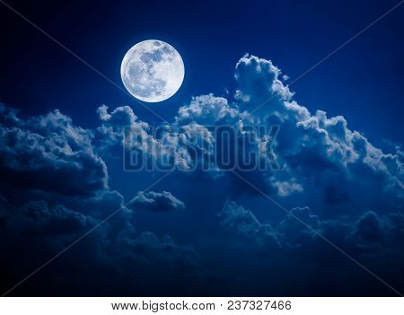 Beautiful Vivid Skyscape. Landscape Of Night Sky With Bright Full Moon And Cloudy, Serenity Blue Nat