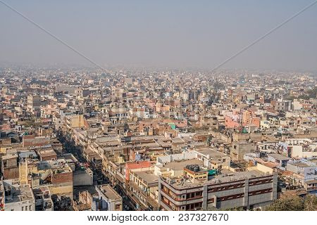 Cityscape Of Old Delhi In India. View Of The Old District Of New Delhi. Pollution And Smog In The Ai