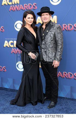LAS VEGAS - APR 15:  Morgan Petek, Jerrod Niemann at the Academy of Country Music Awards 2018 at MGM Grand Garden Arena on April 15, 2018 in Las Vegas, NV