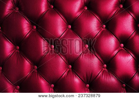 Saturated Glossy Pink Leather Texture Of Sofa Chair