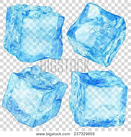 Set Of Four Realistic Translucent Ice Cubes In Light Blue Color Isolated On Transparent Background.