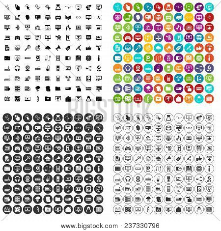 100 Computer Icons Set Vector In 4 Variant For Any Web Design Isolated On White