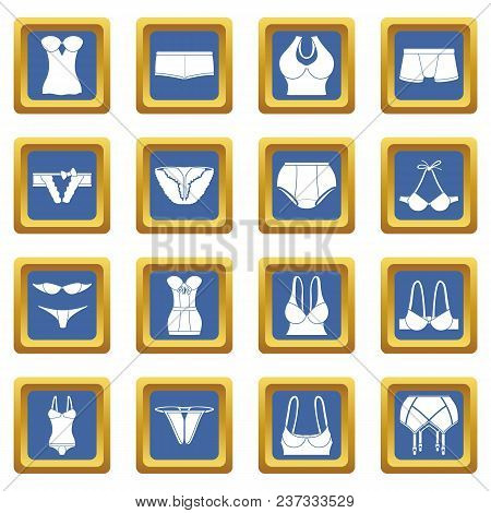 Underwear Icons Set Vector Blue Square Isolated On White Background