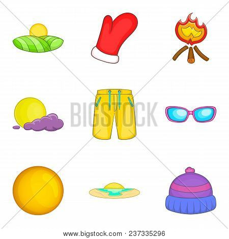 Cozy Atmosphere Icons Set. Cartoon Set Of 9 Cozy Atmosphere Vector Icons For Web Isolated On White B
