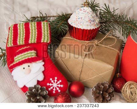 Cute Gifts For Christmas On A White Background. Holiday Concept