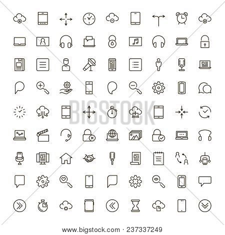 Mobile App Icon Set. Collection Of High Quality Outline Mobile Application Pictograms In Modern Flat