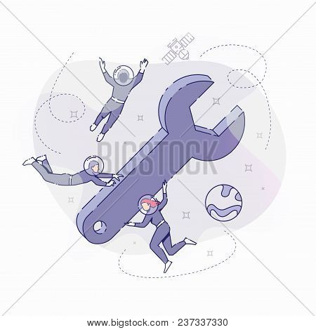 Vector Illustration Of Developers In Spacesuits Floating Around Big Symbolic Wrench. Flat Line Desig