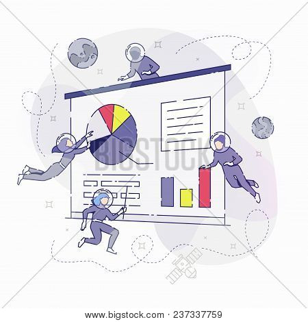 Vector Illustration Of Developers In Spacesuits Floating Around Big Symbolic Presentation Screen Whi