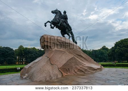 Russia, Saint Petersburg - August 18, 2017: Monument Of Russian Emperor Peter The Great, Known As Th