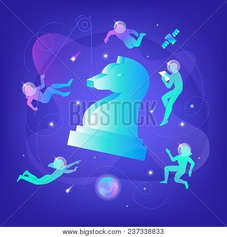 Vector Illustration Of Developers In Spacesuits Floating Around Big Chess Figure. Business Metaphor