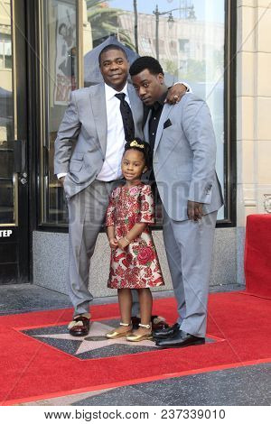 LOS ANGELES - APR 10:  Tracy Morgan, Tracy Morgan Jr, Maven Morgan at the Tracy Morgan Star Ceremony on the Hollywood Walk of Fame on April 10, 2018 in Los Angeles, CA