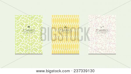 Stock Vector Set Of Brochure Template Covers Design. Seamless Pattern And Summer Emblem With Tropica