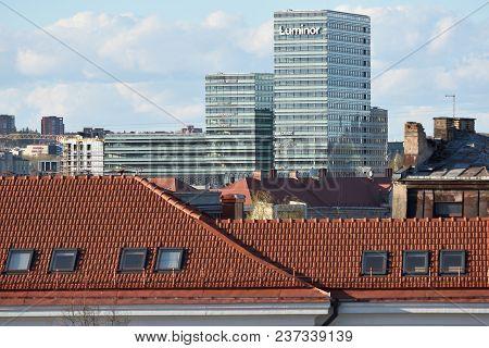 Vilnius, April 21: The Head Office Of Luminor Bank On April 21, 2018 In Vilnius, Lithuania. Nordea A