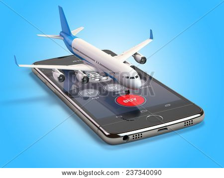 Airplane on the mobile phone. Internet online searching and buying airplane boarding pass tickets by smartphone. 3d illustration