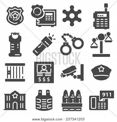 Vector Gray Police Icons Set On White Background