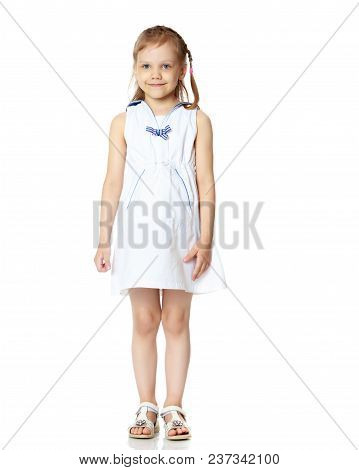 The Little Girl Is Full-length. The Concept Of Family Happiness, A Child, Childhood, Play, Beauty An