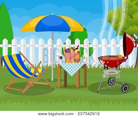 Bbq Party. Sun Lounger, Grill With Barbecue And Umbrella. Cooking Steak, Meat And Sausages, Grilling