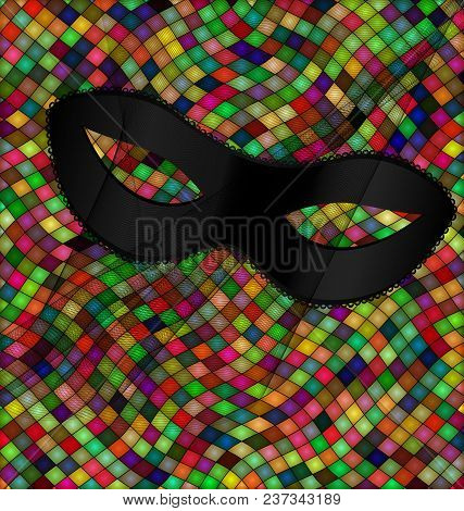 Abstract Colored Background Image Consisting Of Lines And Cubes With Carnival Black Half Mask