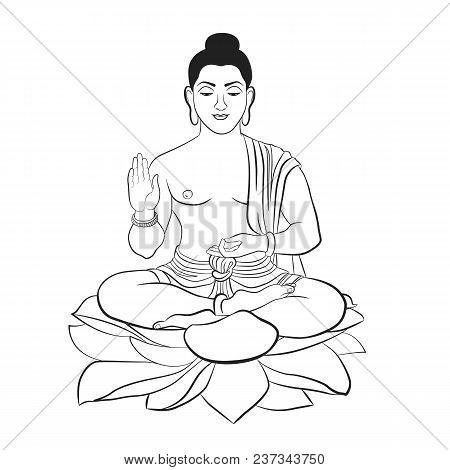 Buddha Sitting On Lotus Line Art Elegant Vector Illustration. The Symbol Of Hinduism, Buddhism, Spir