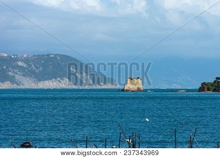 The Scola Tower (torre Scola) Xvii Century In The Gulf Of La Spezia Or Gulf Of Poets (golfo Dei Poet