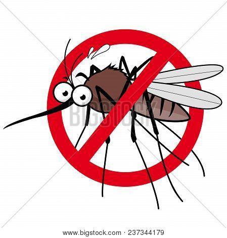 Cartoon Mosquito Repellent Sign. Vector Illustration Of A Cartoon Mosquito And Prohibition Sign.