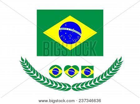Brazil Flag Vector Illustration. Brazil Flag. National Flag Of Brazil On White Background