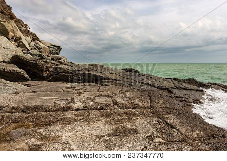 Cliffs In The Gulf Of La Spezia (punta Bianca) And Mediterranean Sea. Liguria, Italy, Europe