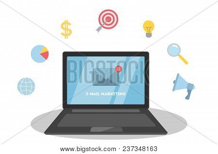 Business E-mail Marketing. Promoting Business On Laptop.