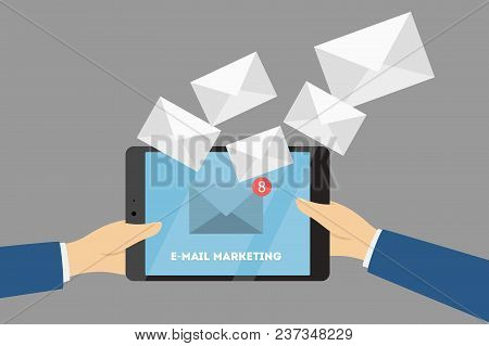 Business E-mail Marketing. Promoting Business On Tablet.