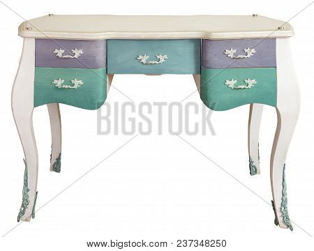 Retro White Ornate Wooden Desk Table With Five Colored Drawers Isolated On White Background Includin