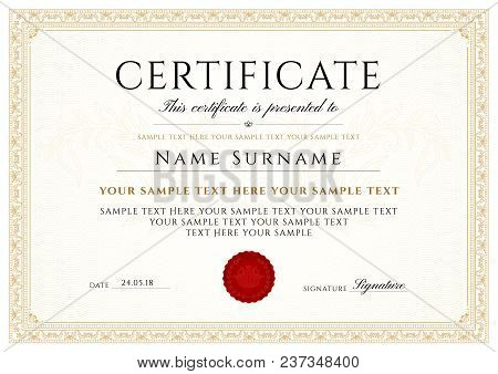 Certificate, Diploma Of Completion (design Template, White Background) With Frame, Border, Light Gui