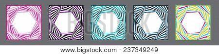 Vector Frame. Optical Illusion Frame Set.  Dynamic Frame Stylish Geometric Background. Element For D