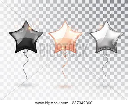 Star Balloon On Transparent Background. Party Helium Balloons Event Design Decoration. Balloons Isol