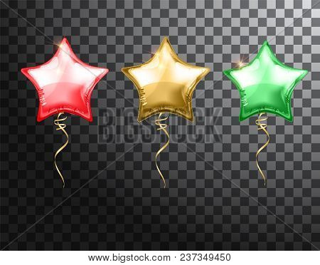 Star Balloon Colorful Set On Transparent Background. Party Helium Balloons Event Design Decoration.