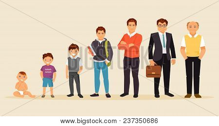 Collection Of Male Age. Development Of Men From The Child To The Elderly. Male Characters. The Aging