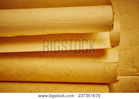 Old Aged Blank Rolled Parchments. Antique Documents. Vintage Manuscripts. Horizontal