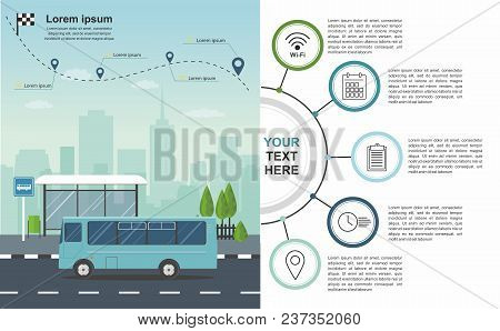 Transporation Infographic Bus At The Bus Stop On Background Of City