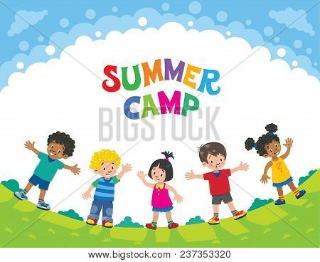 Summer Camp. Children Vector Illustration Of Five Kids At Yhe Lawn Under The Clowds In The Sunny Day