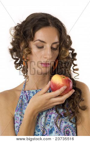 Cute Girl With An Apple In Your Hands