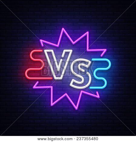 Versus Neon Sign. Neon Symbol, Icon, Logo Design Template Confrontation. Light Banner, Bright Night