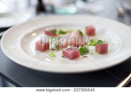 Beautiful Presentation Of Raw Salmon Dish