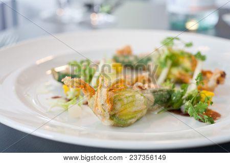 Vegetarian Dish Of Fried Zucchini Flowers