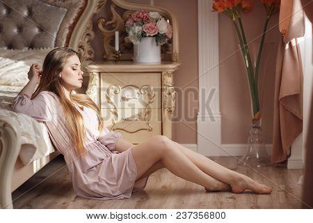 Incredibly Charming Woman With Beautiful Grey Eyes,blonde Lush Long Hair,light Make-up And Big, Blac