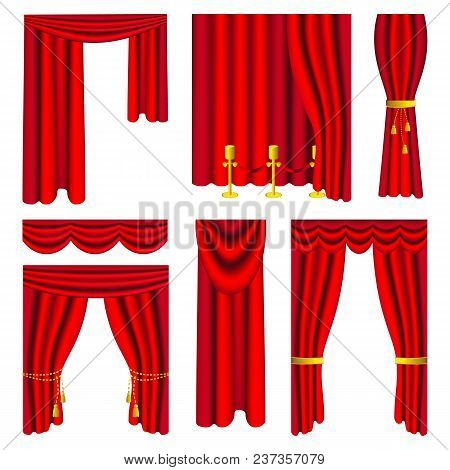 Vector Illustration. Set Of Red Luxury Curtains And Draperies On White Background