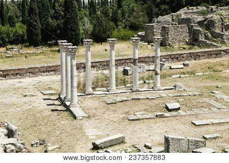 Ruins Of The Temple Of Apollo. Asklepiy On The Island Of Kos. Greece