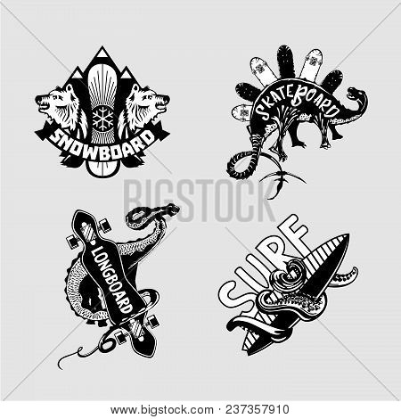 Vintage Embleme Set With Boards. Extreme Sport. Longboard, Skate, Snowboard And Surfing. Black And W