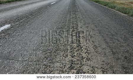 Asphalt Paving On Highway Turn Closeup Photo