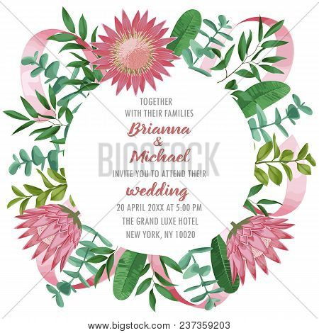 Floral Wedding Invitation With Protea Flowers, Herb And Bushes Branches With Leaves In Watercolor St